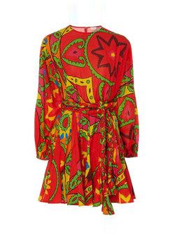Boho Lantern Sleeve Print Pleated Mini Dress