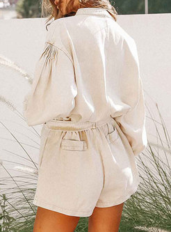 Washed Flap Pocket High Waisted Cargo Hot Pant Suits