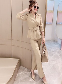 Notched Long Sleeve High Waisted Dress Pant Suits