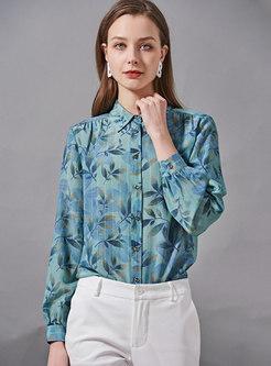 Turn-down Collar Striped Print Silk Blouse
