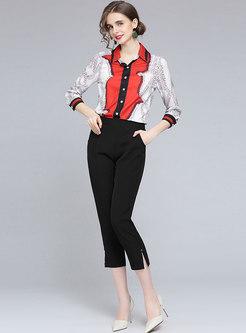 Turn-down Collar Print Long Sleeve Blouse
