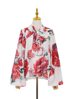 V-neck Bow Tie Chiffon Loose Print Blouse