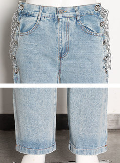 High Waisted Chain Embellished Straight Jeans