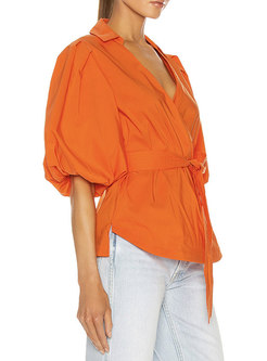 V-neck Puff Sleeve Tied Pullover Blouse