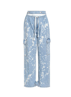 High Waisted Drawstring Tie-dye Straight Jeans