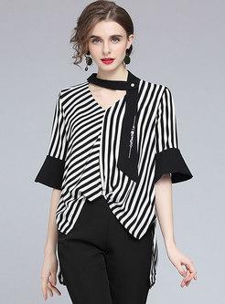 V-neck Flare Sleeve Striped Pullover Blouse