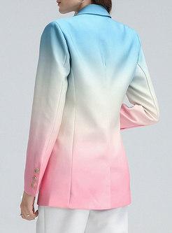 Lapel Flap Pocket Gradient Straight Blazer