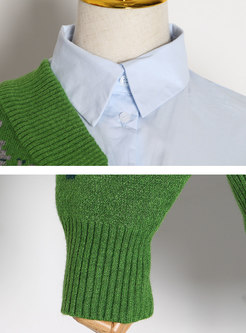 Turn-down Collar Knitted Patchwork Blouse