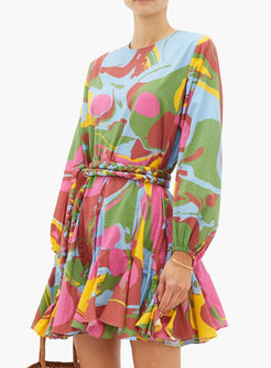 Lantern Sleeve Print Mini Skater Dress