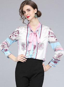 V-neck Print Bow Tie Blouse