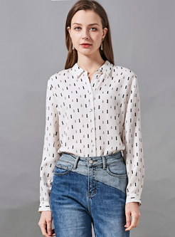 White Long Sleeve Print Silk Blouse