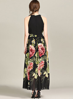 Black Sleeveless Print Beach Maxi Dress