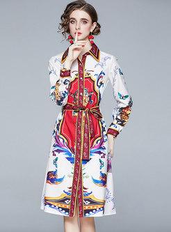 Retro Floral Long Sleeve Knee-length Shirt Dress