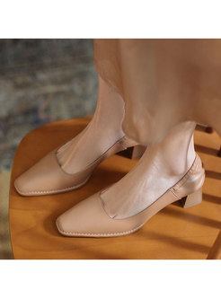 Brief Square Toe Chunky Heel Low-fronted Shoes