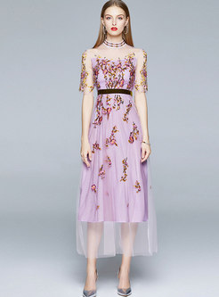 Mock Neck Mesh Embroidered Party Maxi Dress
