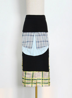 High Waisted Plaid Patchwork Split Midi Skirt