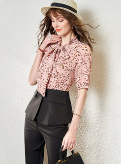 Leopard Bow Tie Patchwork Blouse & High Waisted Cigarette Pants