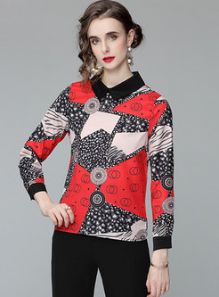 Turn-down Collar Geometric Pattern Pullover Blouse