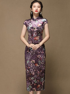 Mandarin Collar Cap Sleeve Print Velvet Cheongsam Dress