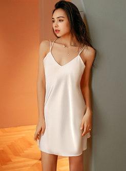 Solid V-neck Backless Sexy Mini Nightdress