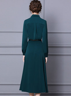 Green Long Sleeve Brief A Line Maxi Skirt Suits