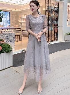 Mesh Beaded Embroidered Midi Bridesmaid Dress
