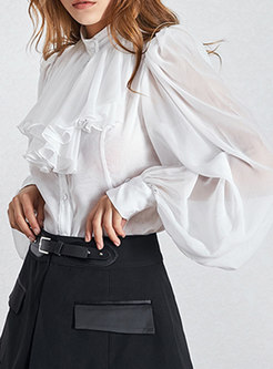 Mock Neck Transparent Ruffle Ruched Chiffon Blouse