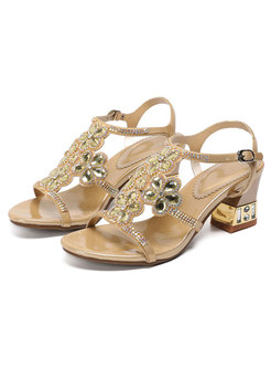 Rhinestone Embellished Ankle Strap Block Heel Sandals