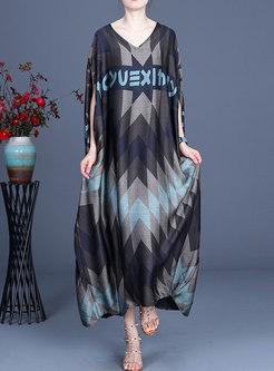 Plus Size V-neck Batwing Sleeve Shift Maxi Dress