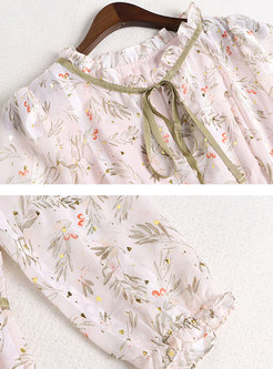 Mock Neck 3/4 Sleeve Print Mini Skater Dress