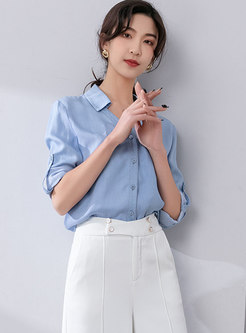 Long Sleeve Single-breasted Casual Blouse