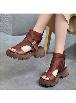 Rounded Toe Cowhide Platform Sandals