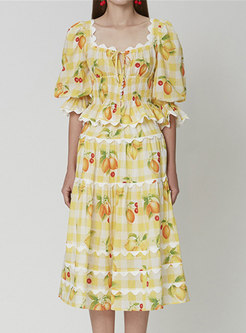 Cute Print Square Neck Flare Sleeve A Line Skirt Suits