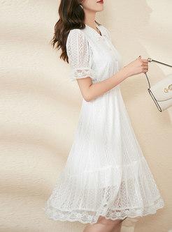 White V-neck High Waisted Lace Knee-length Dress