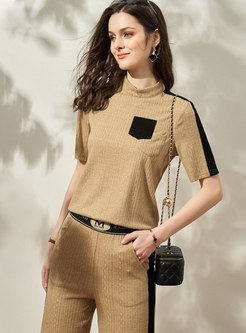 Casual Color-blocked Patchwork Straight Pant Suits