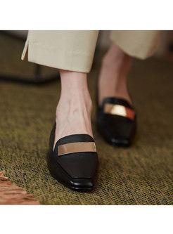 Square Toe Metal Embellished Low Heel Loafers