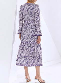 Boho Crew Neck Ruffle Print A Line Maxi Dress