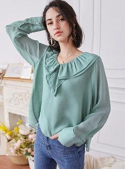 Brief V-neck Ruffle Pullover Loose Silk Blouse