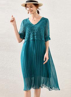 Half Sleeve Openwork Patchwork Plus Size Dress