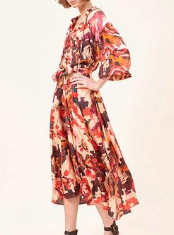 Boho Lantern Sleeve Print Big Hem Maxi Dress