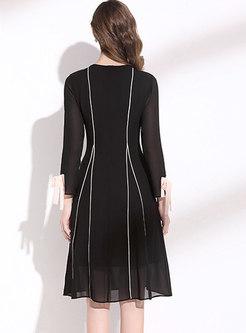 Black Crew Neck Patchwork Chiffon A Line Dress