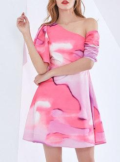 One Shoulder Tie-dye Ruffle Mini Skater Dress
