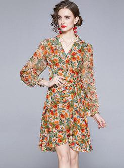 Long Sleeve V-neck Print Ruched Chiffon Wrap Dress