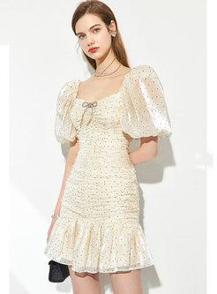 Square Neck Puff Sleeve Ruched Peplum Mini Dress