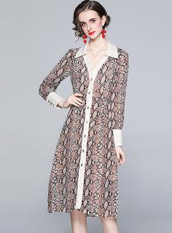 Casual Animal Print Single-breasted Shirt Dress