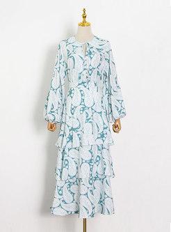 Boho V-neck Lantern Sleeve Print Tiered Skirt Suits