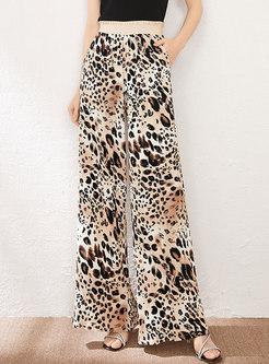 High Waisted Leopard Chiffon Palazzo Pants