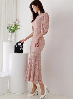 Lantern Sleeve Lace Openwork Peplum Maxi Dress