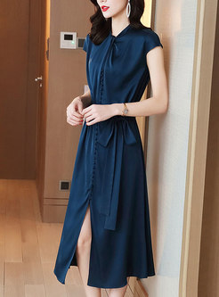 Brief Mock Neck Cap Sleeve Silk Midi Dress