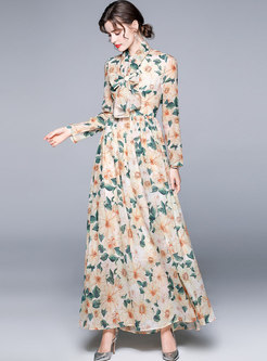 Boho Long Sleeve Print Beach Chiffon Maxi Dress